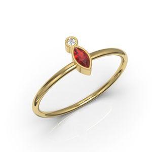 10K Minimalist Bezel Marquise Ruby CZ Ring